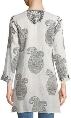 Raj Faith Paisley-Print Thread-Work Split-Neck Cotton Tunic