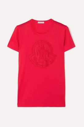 Moncler Appliquéd Cotton-jersey T-shirt - Red