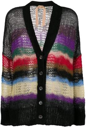 No.21 sheer knit oversized cardigan