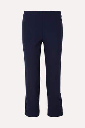 Lela Rose Cropped Wool-blend Cady Straight-leg Pants - Navy