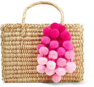 Nannacay - Maldives Baby Pompom-embellished Woven Raffia Tote - Beige $152 thestylecure.com