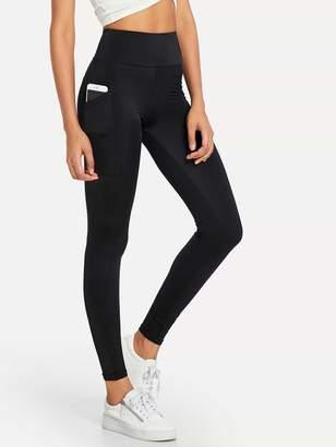 Shein Elastic Waist Pocket Side Leggings