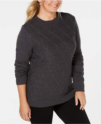 Karen Scott Plus Size Embellished Cable Sweater