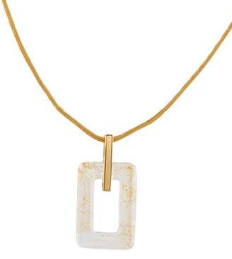 Lalique Rectangular Crystal Pendant Necklace