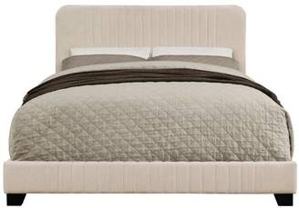 Home Meridian Mid-Century All-in-One Queen Bed with Channeled Headboard & Footboard in Dupree Linen