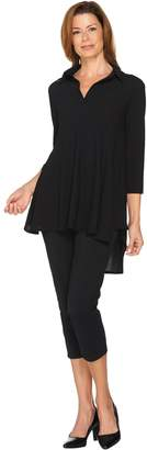 Women With Control Women with Control Petite Crepe Jersey Knit Tunic and Crop Pants Set