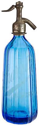 One Kings Lane Vintage French Blue Glass Seltzer Bottle
