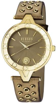 Versus By Versace Women's 'V Versus Eyelet' Quartz Gold and Leather Casual Watch, Color: (Model: SCM080016)