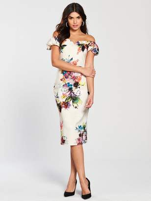 Little Mistress Floral Print Off Shoulder Bodycon Dress