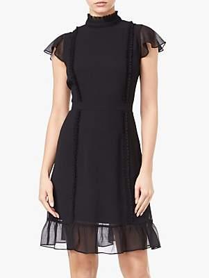 Ruffle Detail Chiffon Dress, Black
