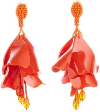 Oscar de la Renta Mandarin Large Impatiens Flower Drop Earrings