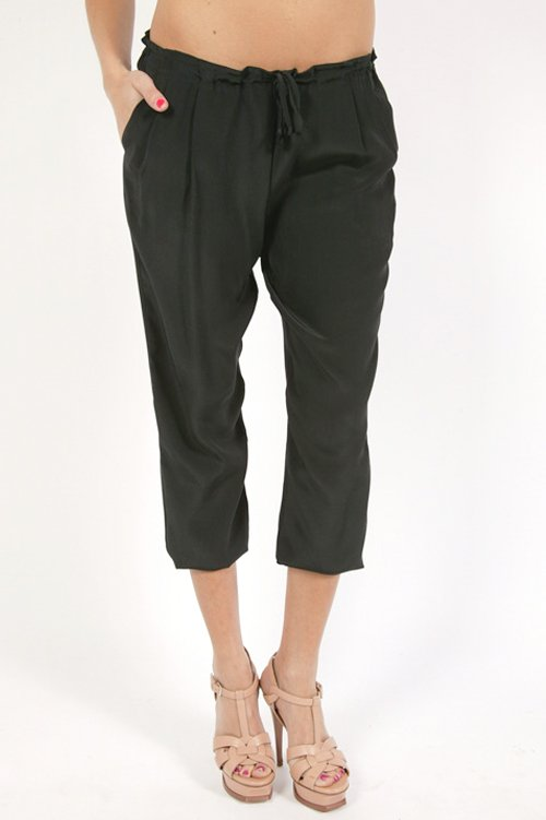 Twelfth St. by Cynthia Vincent Cropped Silk Pant - Black