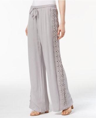 INC International Concepts Lace-Trim Wide-Leg Pants, Only at Macy's $99.50 thestylecure.com