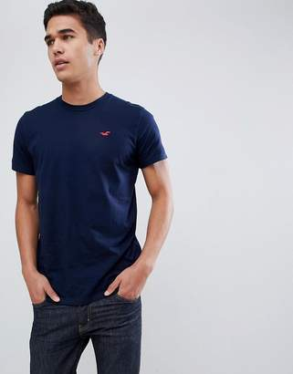 Hollister solid core crewneck t-shirt seagull logo slim fit in navy