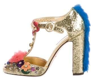 Dolce & Gabbana Glitter T-Strap Pumps w/ Tags Gold Glitter T-Strap Pumps w/ Tags