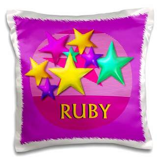 3dRose Vibrant colored stars on a pink background with the name RUBY - Pillow Case, 16 by 16-inch