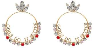 Anton Heunis gold plated Girls Do It Better Swarovski crystal earrings