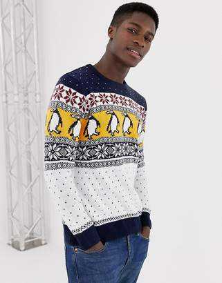 Pull&Bear Holidays penguin sweater in gray
