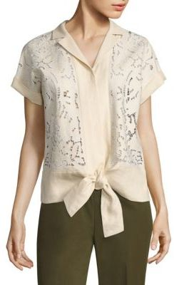 Lafayette 148 New York Sawyer Embroidered Linen Blouse $498 thestylecure.com