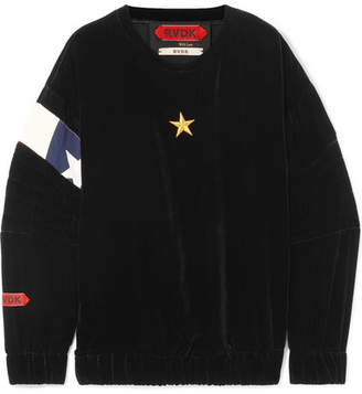 Ronald van der Kemp - Oversized Embroidered Cotton-paneled Satin Sweatshirt - Black