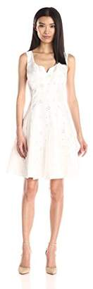 Taylor Dresses Women's V-Neck Shantung Eyelet Dress