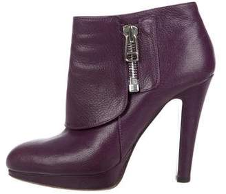 Michel Perry Leather Pointed-Toe Ankle Boots