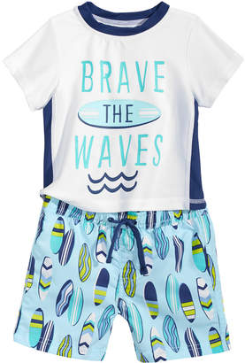 First Impressions 2-Pc. Rash Guard & Swim Trunks Set, Baby Boys, Created for Macy's