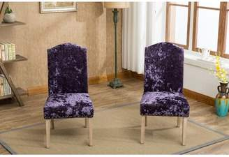 House of Hampton Wokefield Velvet Caen Nail Head Urban Ice Fabric Padded Parson Upholstered Dining Chair House of Hampton