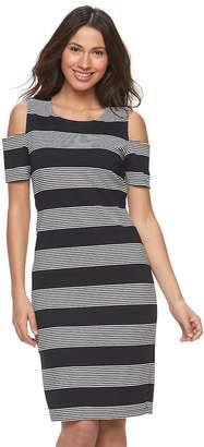 Ronni Nicole Women's Striped Cold-Shoulder Sheath Dress