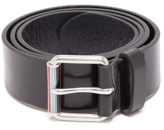 Paul Smith Artist Stripe Roller Buckle Leather Belt - Mens - Black