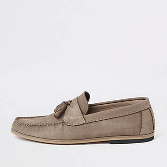 River Island Stone tumbled leather tassel loafers