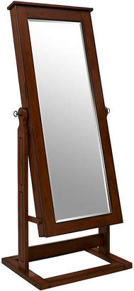 FINE JEWELRY Walnut-Finish Adjustable Full-Length Cheval Mirror & Jewelry Wardrobe