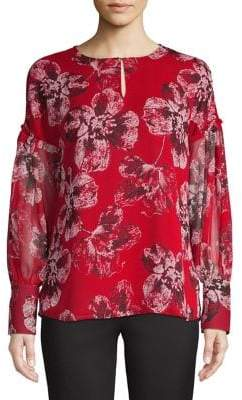 Tommy Hilfiger Floral-Print Long-Sleeve Blouse