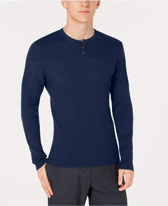 Alfani Men's Ribbed Blocked Henley Sweater, Created for Macy's