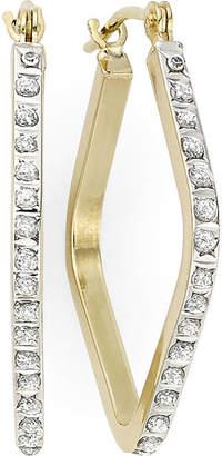 JCPenney FINE JEWELRY Diamond Fascination 14K Yellow Gold Geometric Hoop Earrings