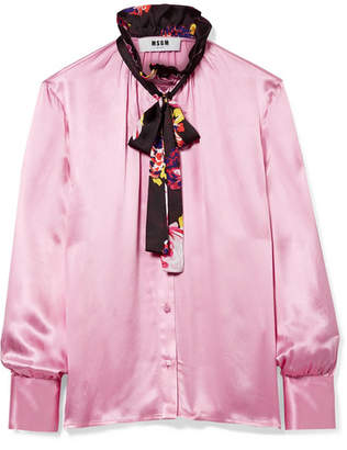 MSGM Pussy-bow Ruffle-trimmed Printed Satin Blouse - Baby pink