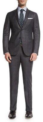 Ermenegildo Zegna Prince of Wales Plaid Two-Piece Suit, Gray $3,095 thestylecure.com