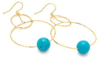 Gorjana 18K Gold Plated Turquoise Interlocking Bead Hoop Drop Earrings