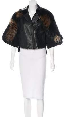 BCBGMaxAzria Runway Fur-Accented Leather Jacket