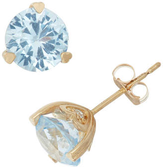 FINE JEWELRY Lab Created Aquamarine And Diamond Accent 10K Yellow Gold Earrings