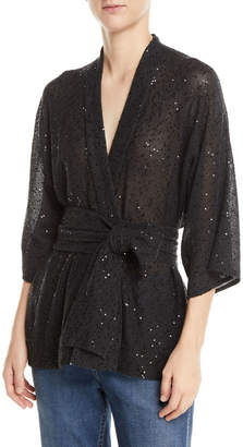 Brunello Cucinelli Sequin Linen/Silk Wrap Sweater