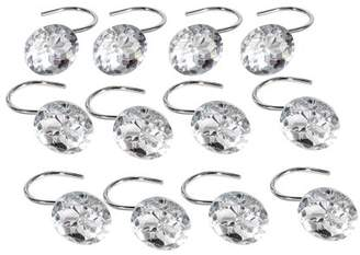 Yosoo Shower Curtain Hooks Diamond Shape Shower Rings/Round Acrylic Decorative Rhinestones Bling Rolling Bathroom Bath Set of 12 Rings