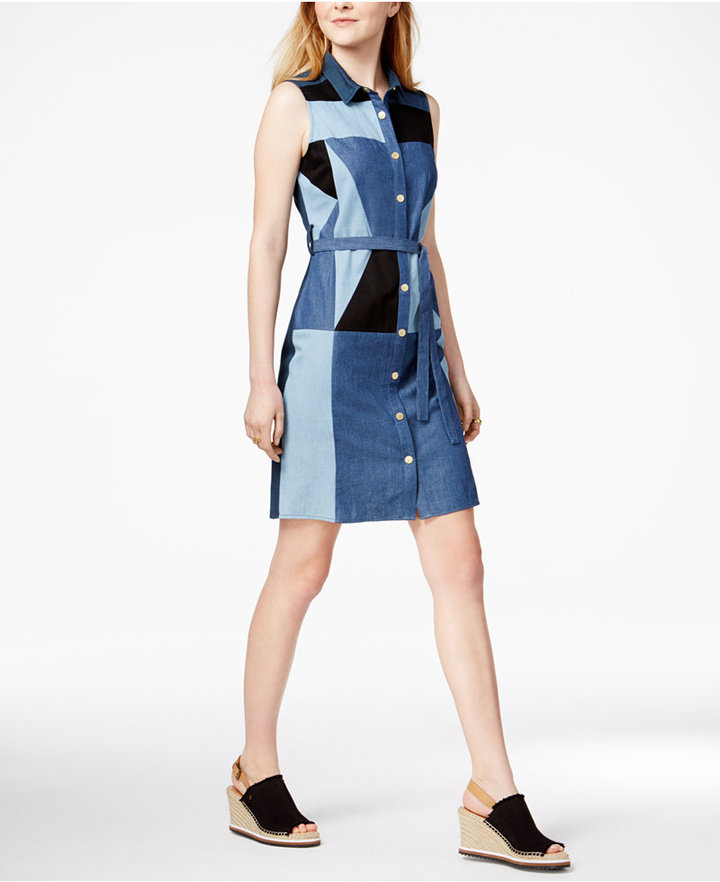 Tommy Hilfiger Denim Patchwork Cotton Shirtdress, Only at Macy's