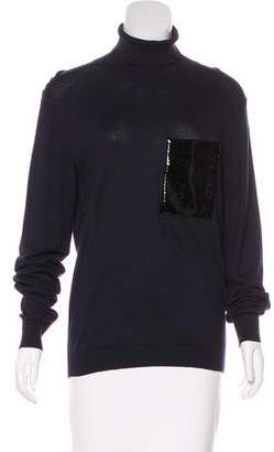 Christopher Kane Leather-Trimmed Turtleneck Sweater w/ Tags