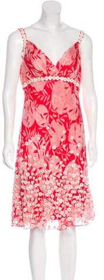 Carmen Marc Valvo CMV Embellished Silk Dress