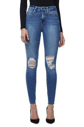 Good American Good Waist Raw Edge Jeans - Blue092