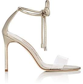 Manolo Blahnik Women's Estro Leather & PVC Ankle-Tie Sandals-Alba Russo Leather