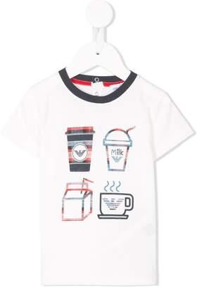Emporio Armani Kids contrast-collar printed T-shirt