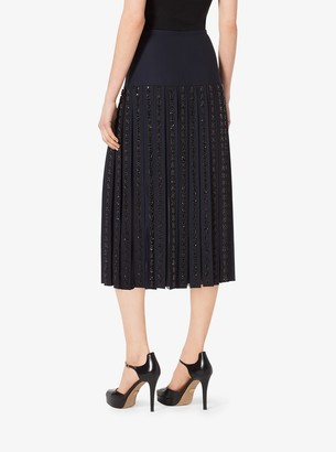 Michael Kors Gem-Embroidered Stretch-Wool Pleat Skirt