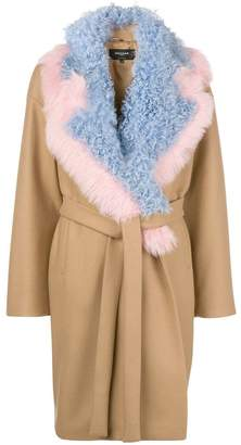 Rochas detachable-collar belted coat